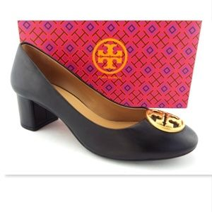 9d544aa0a Unworn TORY BURCH Logo Black Block Heel Pumps 7